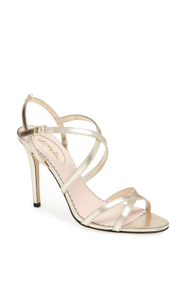 SJP Jill sandal in platino Photo: SJP Collection By Sarah Jessica Parker