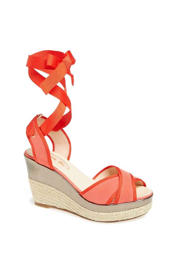 SJP Leslie wedge sandal in coral Photo: SJP Collection By Sarah Jessica Parker