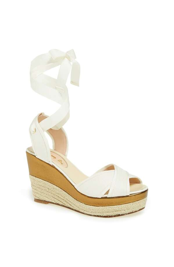 SJP Leslie wedge in white Photo: SJP Collection By Sarah Jessica Parker