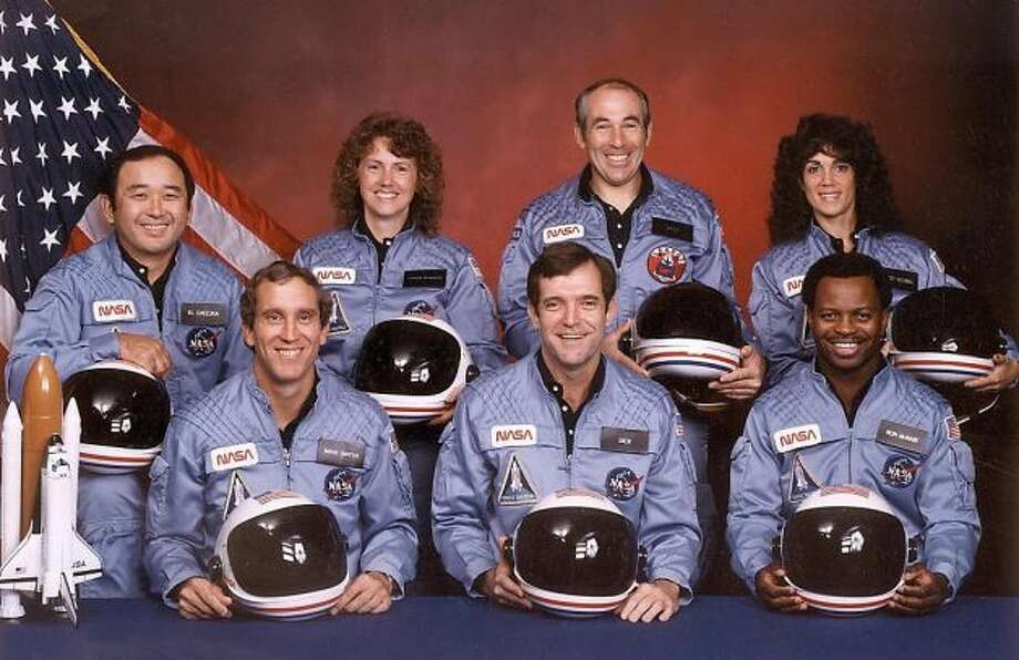 The astronauts who died aboard the space shuttle Challenger. Front row from left are: Mike Smith, Dick Scobee, Ron McNair. Back row from left: Ellison Onizuka, schoolteacher Christa McAuliffe, Greg Jarvis, and Judith Resnik.