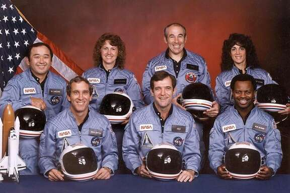 This November 1985 file provided by NASA shows the crew of the doomed US space shuttle Challenger. Front row from left are: astronauts Mike Smith, Dick Scobee, Ron McNair, back row from left: Ellison Onizuka, schoolteacher Christa McAuliffe, Greg Jarvis, and Judith Resnik.