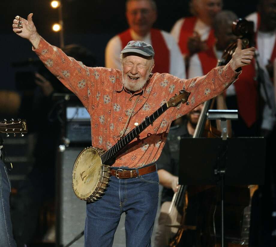 "Photo taken on May 3, 2009 shows folk music legend Pete Seeger during a concert  at Madison Square Garden  marking his 90th birthday. Seeger, known for renditions of songs like ""If I had a Hammer"" and ""Where Have all the Flowers Gone,"" has died at the age of 94, US media reported. Photo: Timothy A. Clary, AFP/Getty Images"