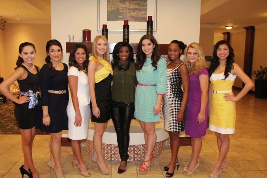 Teen Contestants before Interview with Miss Texas Ivana Hall in Middle and Miss South Texas 2013, Brittany Tew & Teen South Texas 2013,