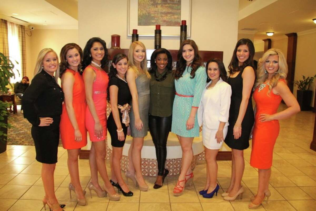 Teen Contestants before Interview with Miss Texas Ivana Hall in Middle and Miss South Texas 2013, Brittany Tew & Teen South Texas 2013, Tori Tew on each side of Miss Texas. Interviews were held on Saturday morning at our Host Hotel - Staybridge Suites Downtown.