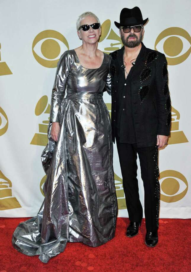 Annie Lennox, left, and Dave Stewart arrive at the night that changed America: a Grammy salute to the Beatles, on Monday, Jan. 27, 2014, in Los Angeles. (Photo by Richard Shotwell/Invision/AP) ORG XMIT: CARPS101 Photo: Richard Shotwell, AP / Invision