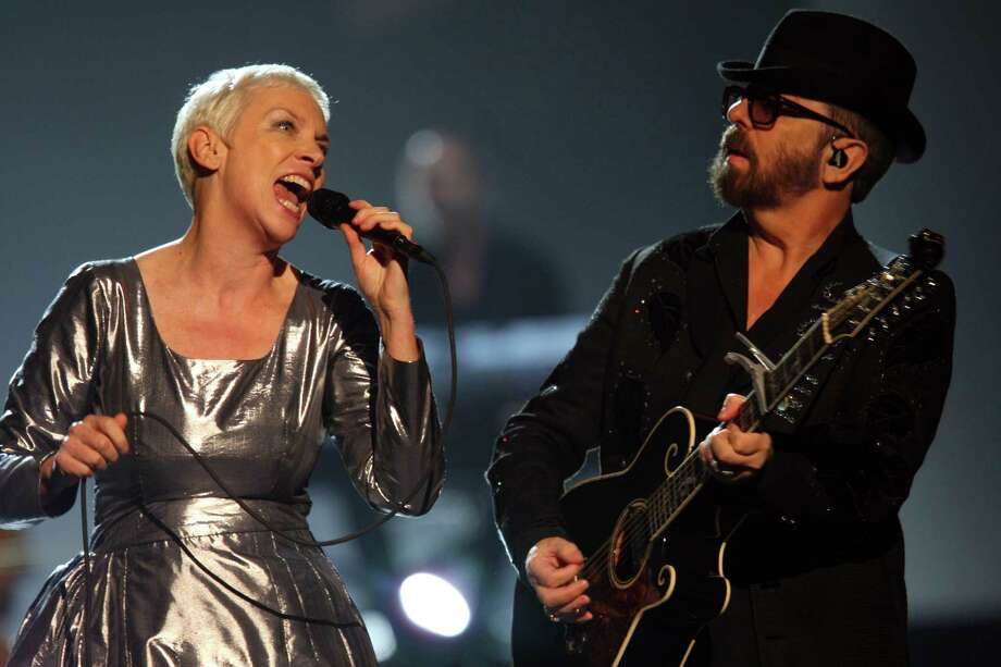Annie Lennox and Dave Stewart of the Eurythmics perform at The Night that Changed America: A Grammy Salute to the Beatles, on Monday, Jan. 27, 2014, in Los Angeles. (Photo by Zach Cordner/Invision/AP) ORG XMIT: CAZC142 Photo: Zach Cordner, AP / Invision