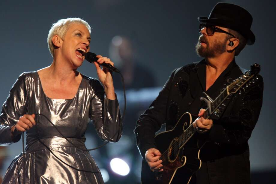 Annie Lennox and Dave Stewart of the Eurythmics perform at The Night that Changed America: A Grammy Salute to the Beatles, on Monday, Jan. 27, 2014, in Los Angeles. Photo: Zach Cordner, Associated Press