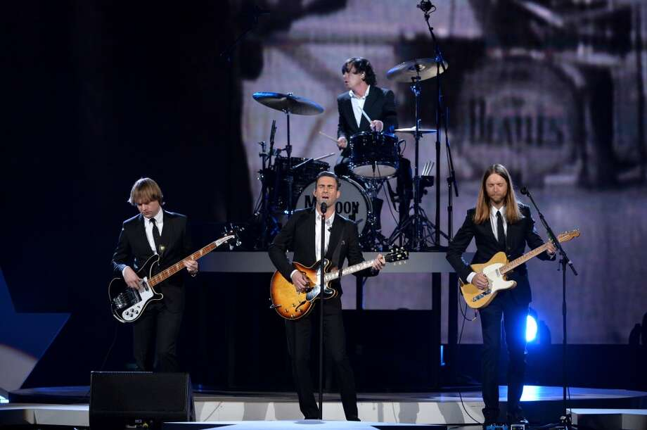 "(L-R) Recording artists Mickey Madden, Adam Levine, Matt Flynn and James Valentine of Maroon 5 perform onstage during ""The Night That Changed America: A GRAMMY Salute To The Beatles"" at the Los Angeles Convention Center on January 27, 2014 in Los Angeles, California. Photo: Kevin Winter, Getty Images For NARAS"