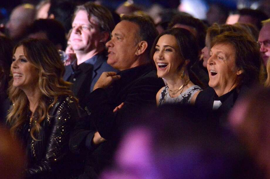 "(L-R) Actress Rita Wilson, actor Tom Hanks, Nancy Shevell and recording artist Paul McCartney attend ""The Night That Changed America: A GRAMMY Salute To The Beatles"" at the Los Angeles Convention Center on January 27, 2014 in Los Angeles, California. Photo: Larry Busacca, Getty Images For NARAS"