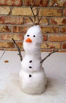 Mini snowman, by Brittney McReynolds in Tomball.
