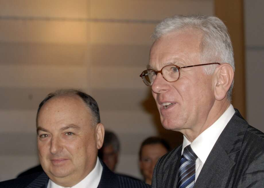 "The President of the European Jewish Congress (EJC) Moshe Kantor, left, arrives along with European Parliament President Hans-Gert Poettering, right, to attend a special event promoting tolerance throughout Europe held at the European Parliament  in Brussels, Monday Nov. 10, 2008. A series of events are currently taking place in Brussels, marking the 70th anniversary of ""Kristallnacht"" pogroms in Nazi Germany in 1938. (AP Photo/Thierry Charlier.) Photo: Thierry Charlier, AP"