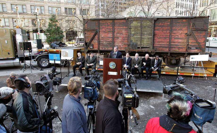 Chicago Mayor Richard M. Daley speaks to the media in front of what is believed to be a German boxcar used during the Holocaust Nov. 9, 2005 in Chicago, Illinois. The boxcar unveiling was part of a program for the 57th anniversary of Kristallnacht and will be a cornerstone for a new Holocaust museum to be built in Skokie, Illinois. (Photo by Tim Boyle/Getty Images) *** Local Caption *** Richard M. Daley Photo: Tim Boyle, Getty Images