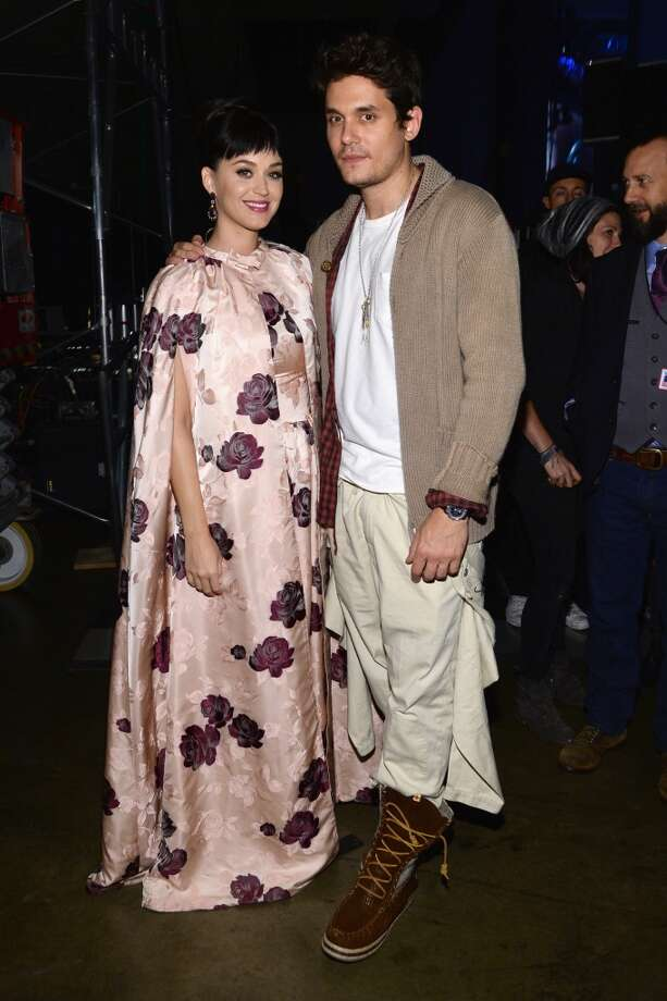 "Recording artists Katy Perry (L) and John Mayer pose backstage at ""The Night That Changed America: A GRAMMY Salute To The Beatles"" at the Los Angeles Convention Center on January 27, 2014 in Los Angeles, California. Photo: Larry Busacca, Getty Images For NARAS"