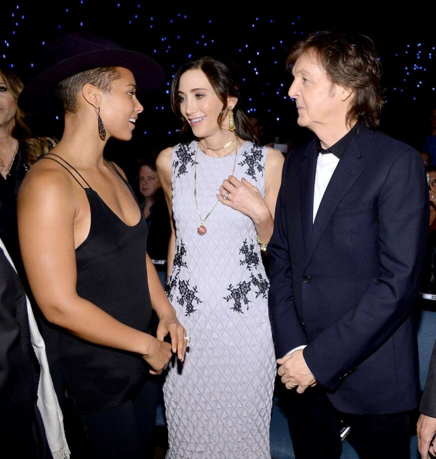 "(L-R) Recording artist Alicia Keys, Nancy Shevell and recording artist Paul McCartney attend ""The Night That Changed America: A GRAMMY Salute To The Beatles"" at the Los Angeles Convention Center on January 27, 2014 in Los Angeles, California. Photo: Larry Busacca, Getty Images For NARAS"