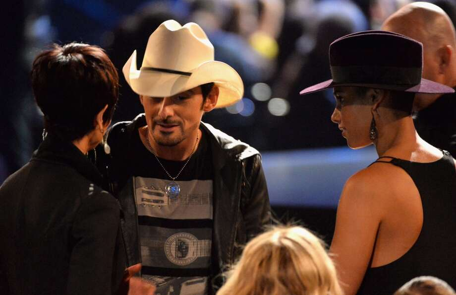 "Recording artists Brad Paisley (L) and Alicia Keys attend ""The Night That Changed America: A GRAMMY Salute To The Beatles"" at the Los Angeles Convention Center on January 27, 2014 in Los Angeles, California. Photo: Kevin Winter, Getty Images"
