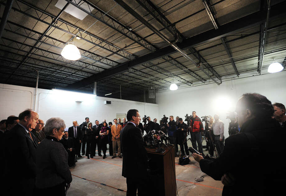 Governor Dannel P. Malloy announces the selection of four medical marijuana producers at a vacant industrial space at 400 Frontage Road in West Haven, Conn. on Tuesday, January 28, 2014. The site will be home to one of the selected producers, Advanced Grow Labs, LLC. Photo: Brian A. Pounds / Connecticut Post