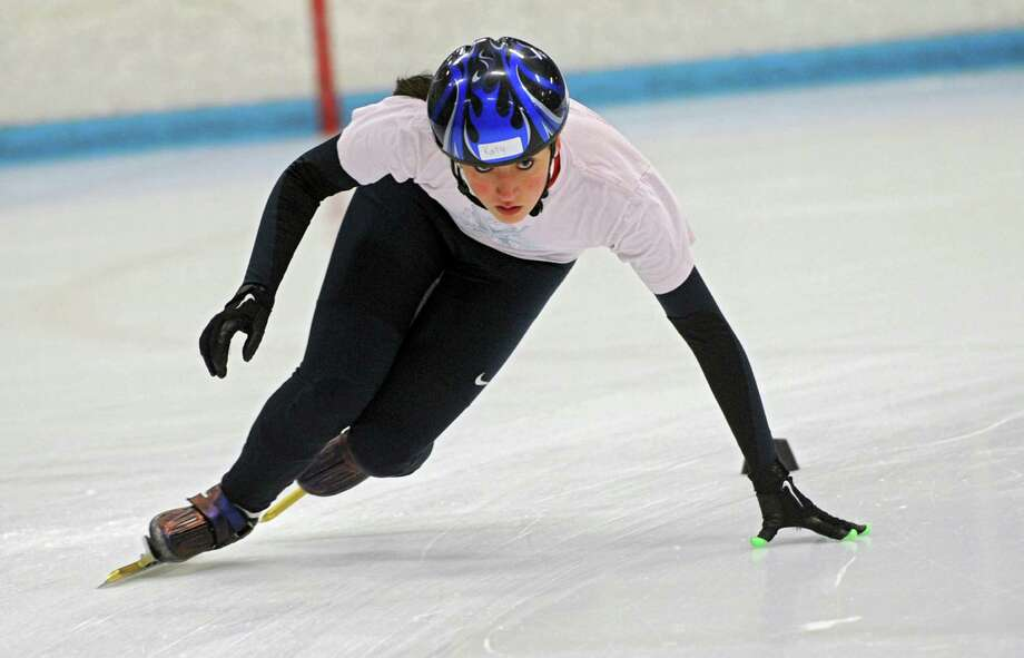 Speed skater Katy Toth, 15, of Saratoga Springs practices at the Knickerbocker Ice Arena on Monday, Oct. 28, 2013 in Troy, N.Y.  (Lori Van Buren / Times Union) Photo: Lori Van Buren / 00024413A