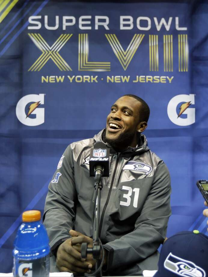 Seattle Seahawks' Kam Chancellor answers a question during media day for the NFL Super Bowl XLVIII football game Tuesday, Jan. 28, 2014, in Newark, N.J. (AP Photo/Jeff Roberson) Photo: Jeff Roberson, AP