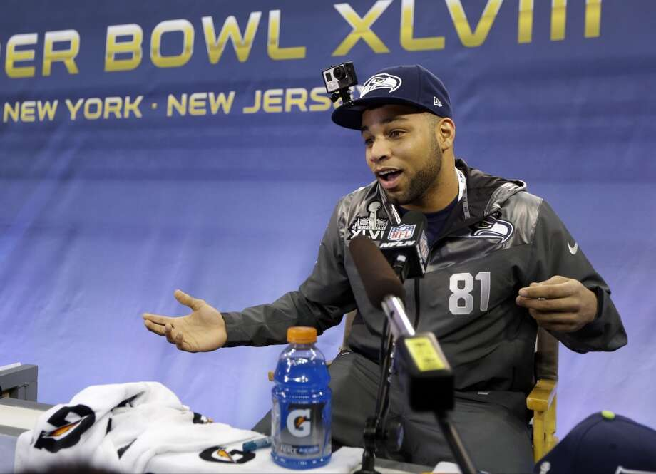 Seattle Seahawks' Golden Tate answers a question during media day for the NFL Super Bowl XLVIII football game Tuesday, Jan. 28, 2014, in Newark, N.J. (AP Photo/Jeff Roberson) Photo: Jeff Roberson, AP