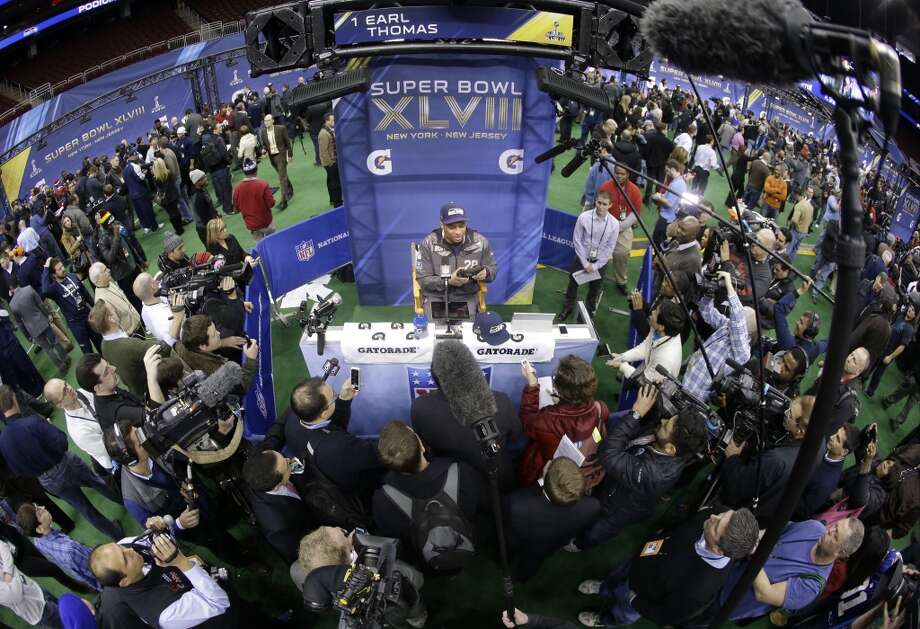 Seattle Seahawks' Earl Thomas answers a question during media day for the NFL Super Bowl XLVIII football game Tuesday, Jan. 28, 2014, in Newark, N.J. (AP Photo/Mark Humphrey) Photo: Mark Humphrey, AP