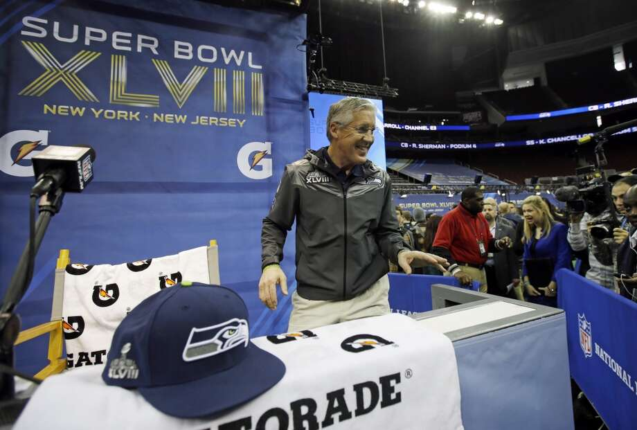 Seattle Seahawks head coach Pete Carroll arrives for media day for the NFL Super Bowl XLVIII football game Tuesday, Jan. 28, 2014, in Newark, N.J. (AP Photo/Matt Slocum) Photo: Matt Slocum, AP