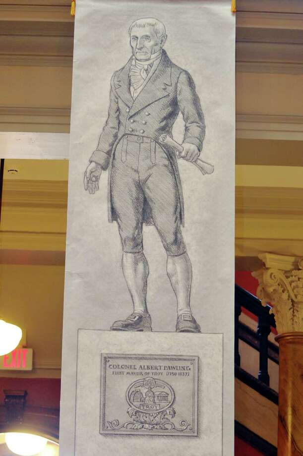 A view of a rendering of what the statue of Col. Albert Pawling will look like when completed is seen at an event put on by the Col. Albert Pawling Memorial Statue Committee at the Rensselaer County Courthouse on Tuesday, Jan. 28, 2014 in Troy, NY.  The event was held to introduce the sculptor and show the rendering of the statue.    (Paul Buckowski / Times Union) Photo: Paul Buckowski / 00025492A
