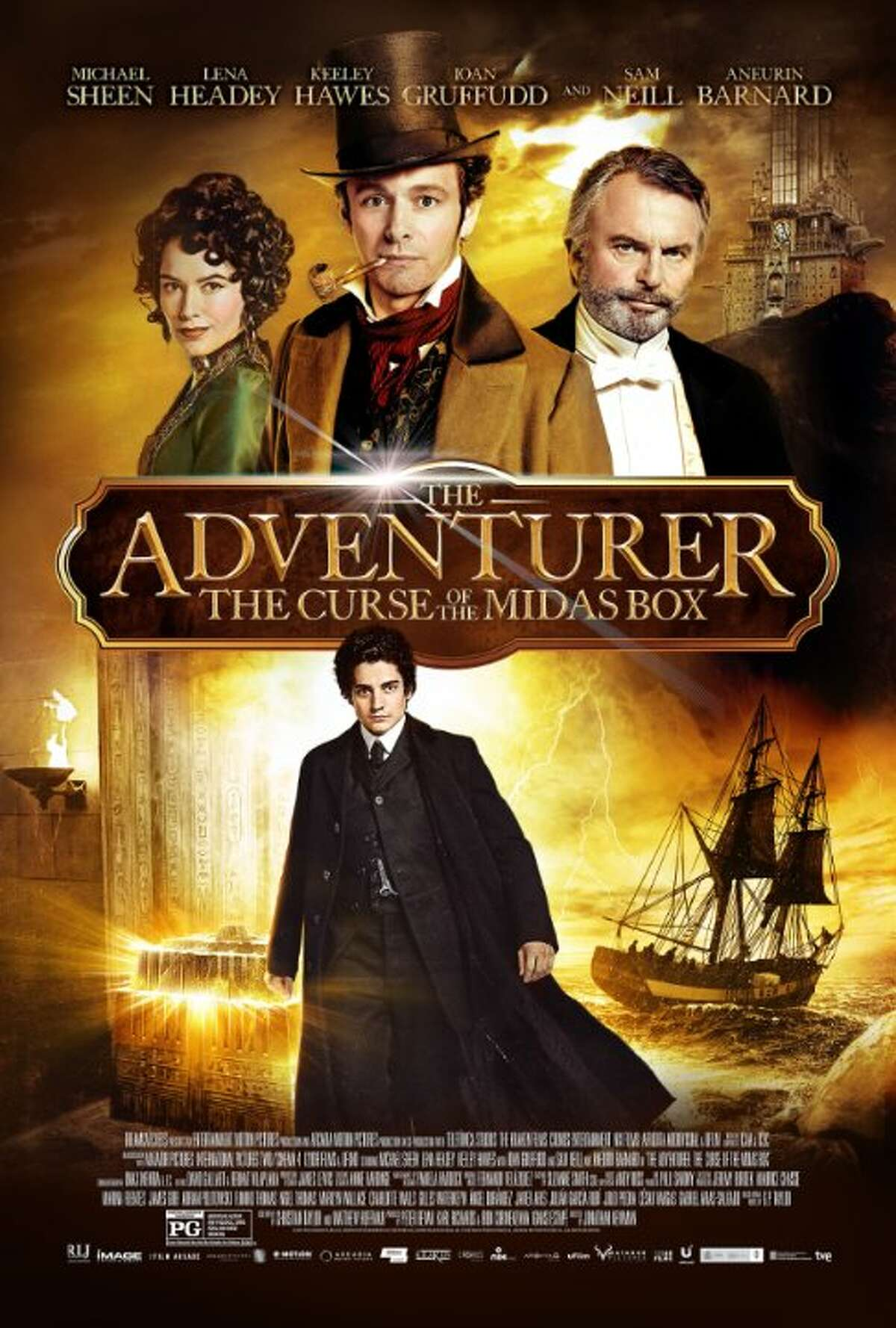 Adventurer: The Curse of the Midas Box Starring: Michael Sheen, Lena Headey, Sam Neill Release date: Jan. 10 When Mariah's brother is kidnapped, he discovers that the key to getting him back hinges on finding an extraordinary box that turns everything placed inside it to gold.