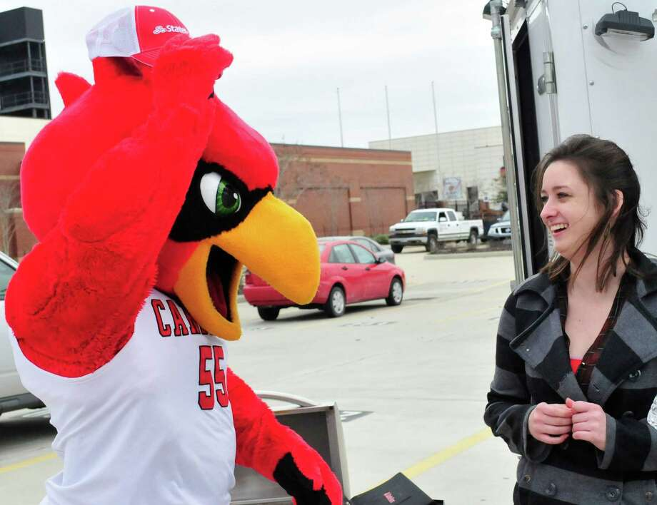 Sarah Yarbrough, 20, won a tail gating trailer Monday from State Farm. Photo: Cassie Smith/@smithcassie