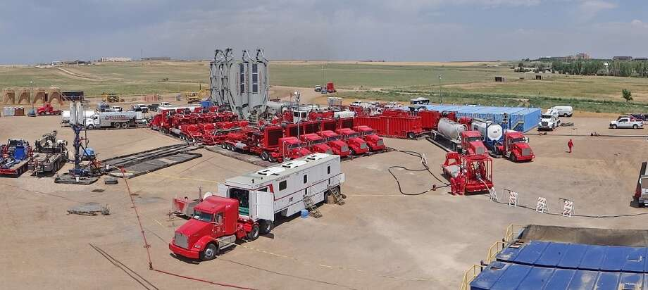 Halliburton -- U.S.-based oil field services company  Share price change: up 47% Market cap: $43 billion 2013 market cap rank: 28 2012 market cap rank: 34  [Photo: Halliburton's trademarked Frac of the Future equipment works at a a Noble Energy hydraulic fracturing site near Williston, N.D.] Photo: Halliburton