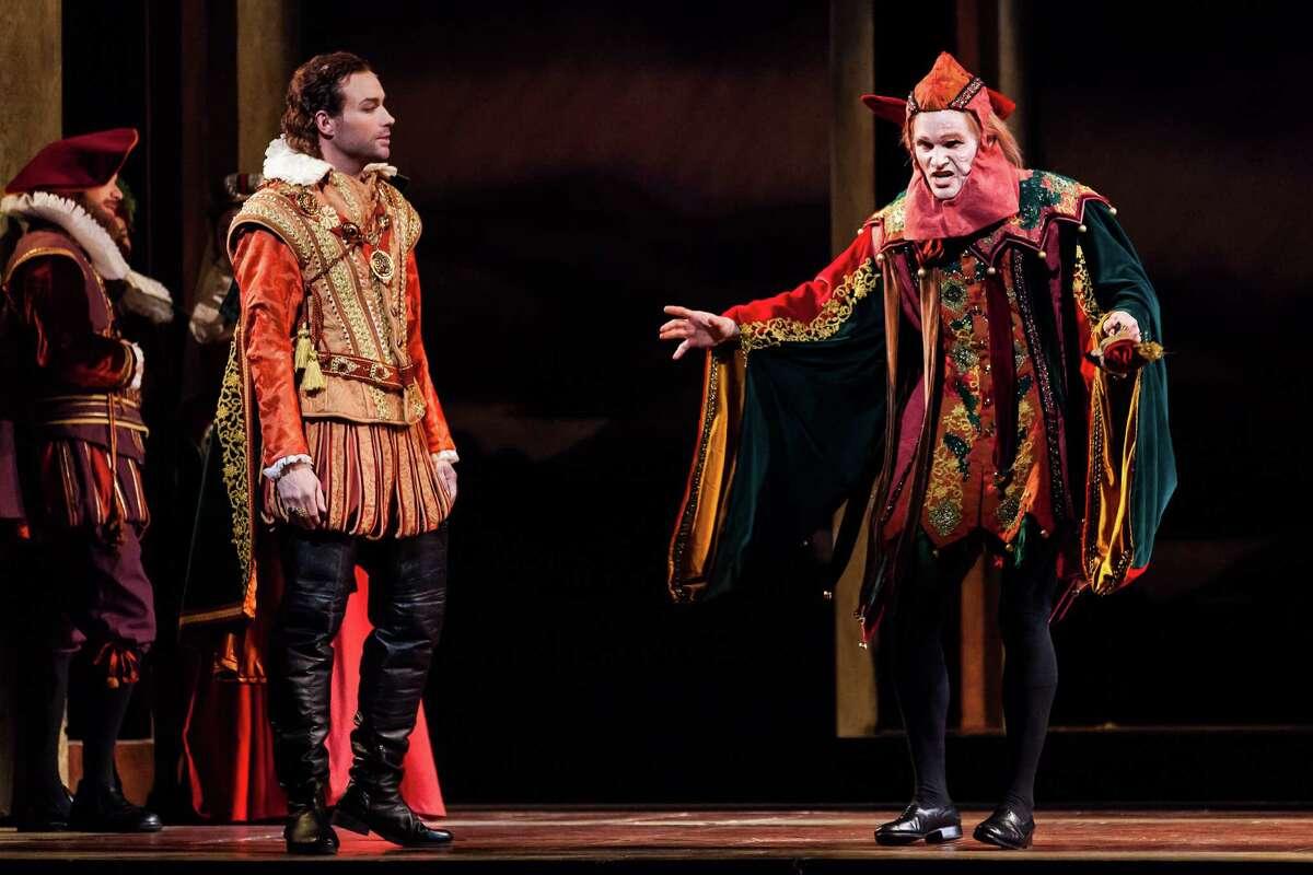"Stephen Costello, left, plays the Duke of Mantua and Ryan McKinny is ""Rigoletto."""