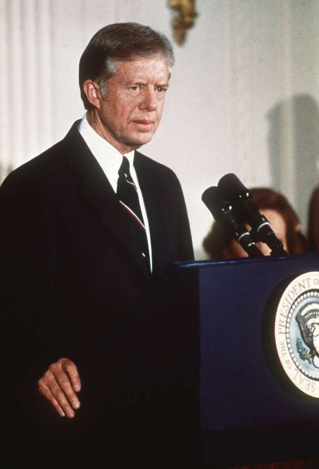 Race:Jimmy Carter vs. Gerald Ford for U.S. presidentYear: 1976Carter was relatively unknown and defeated incumbent Ford. It was also surprising that Carter defeated more well-known candidates in the Democratic primary. Photo: ARNOLD SACHS, AFP/Getty Images