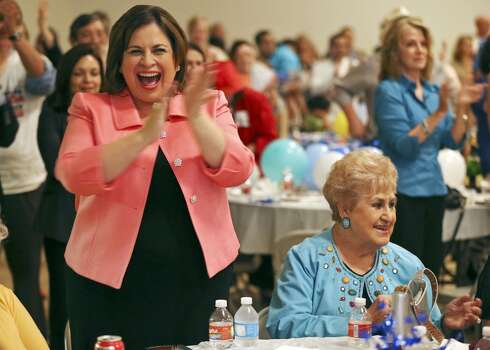 State Sen. Leticia Van de Putte cheers at a watch party Oct. 3, 2013, at the San Antonio Firefighters Banquet Hall as Wendy Davis announces her campaign for governor. Photo: Edward A. Ornelas, San Antonio Express-News