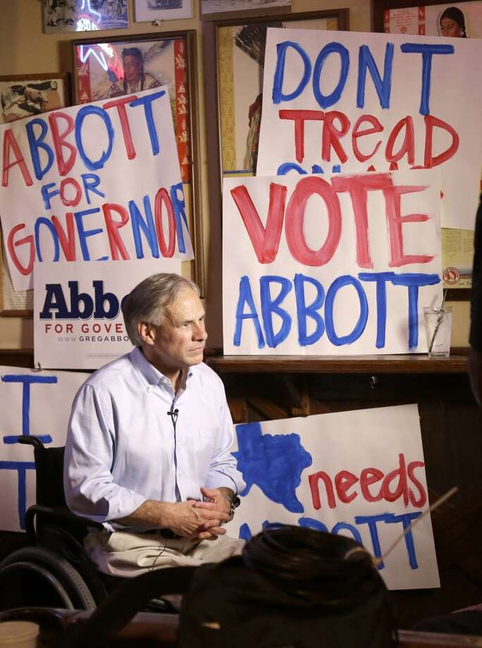 "Abbott has promised to downsize government, set ""real spending limits in Austin"" and stroked social conservative fires by saying, ""Our priorities are wrong when we live in a state that stops a valedictorian from mentioning God but doesn't stop drug cartels crossing our border."" Photo: Pat Sullivan, Associated Press"