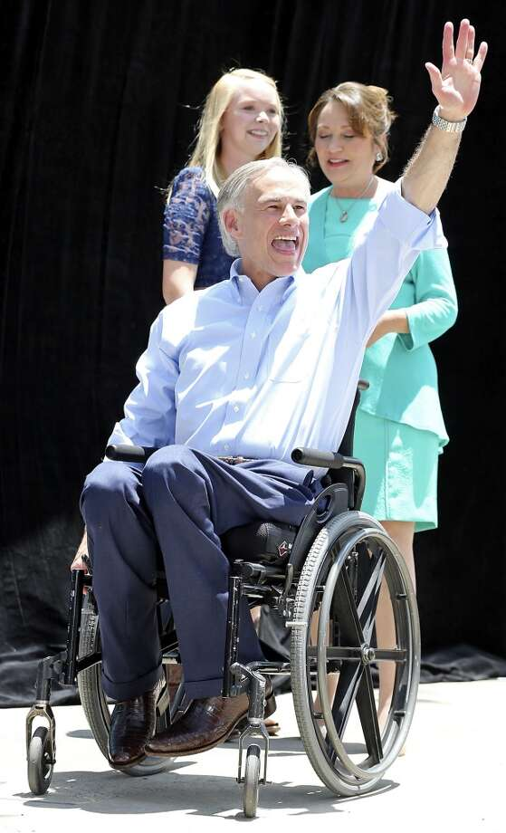 Abbott's campaign kickoff in downtown San Antonio came 29 years to the day after a freak accident left Abbott partially paralyzed. Photo: Edward A. Ornelas, San Antonio Express-News