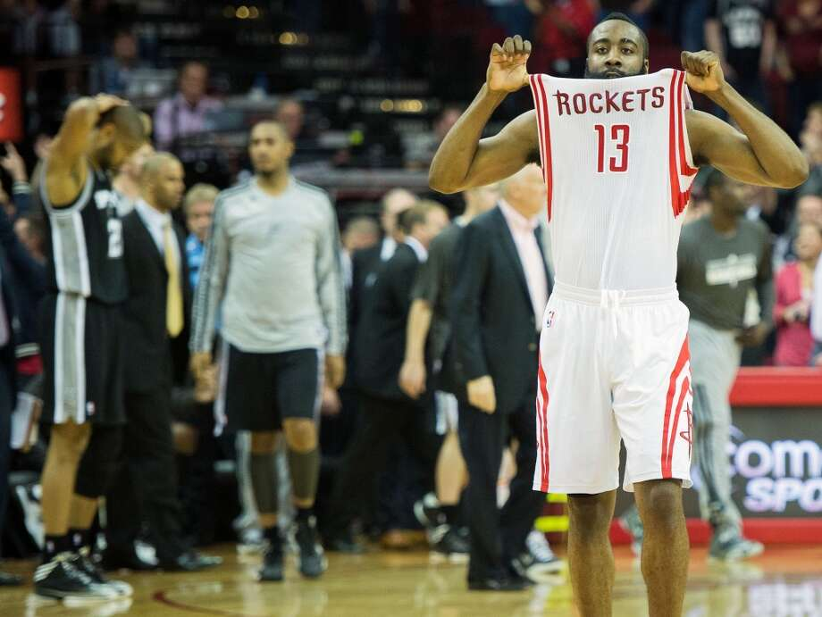 James Harden celebrates after the thrilling win. Photo: Smiley N. Pool, Houston Chronicle