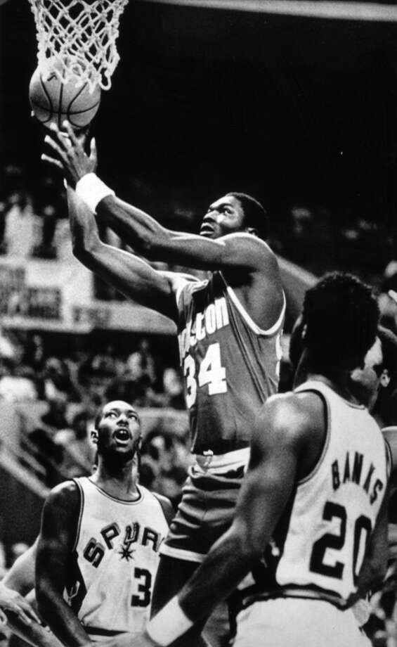 Hakeem Olajuwon's first professional game, an Oct. 5, 1984 preseason tilt, came against the Spurs. Photo: Steve Krauss, Houston Chronicle File Photo