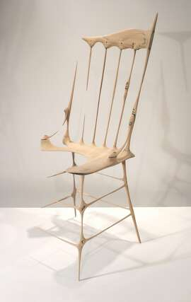 """Drew Daly, """"Remnant,"""" (2004-05). Sanded oak chair, 36 x 14 x 15 inches. On view in """"Obsessive Reductive"""" at San Francisco's Museum of Craft and Design."""