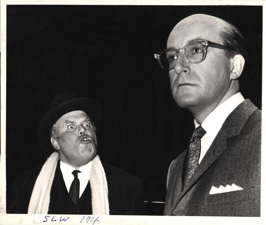 British actor Peter Bull (in character as Russian ambassador Alexi de Sadesky) and British actor and comedian Peter Sellers (in costume as American President Merkin Muffley) in the 'war room' set of the film 'Dr. Strangelove.' Photo: Weegee(Arthur Fellig)/Internatio, Getty Images