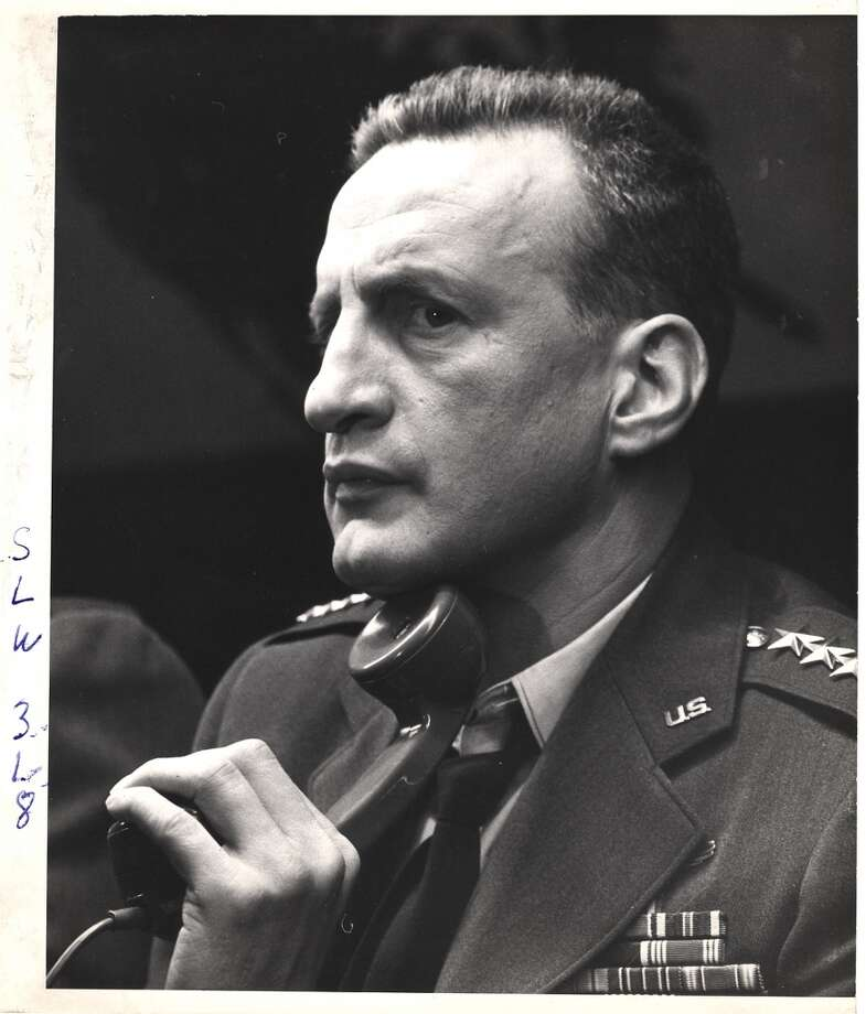 Close-up of American actor George C. Scott (as General Buck Turgidson) on the set of the film 'Dr. Strangelove.' Photo: Weegee, Getty Images