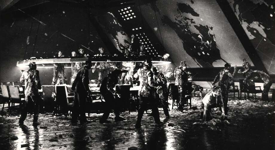 Actors engage in a cream pie fight in the War Room set of the movie ëDr. Strangelove, Or How I Learned to Stop Worrying and Love the Bombí (directed by Stanley Kubrick) at Shepperton Studios, Shepperton, England, 1963. The sequence was eventually cut from the film before its release. Photo: Weegee(Arthur Fellig)/Internatio, Getty Images