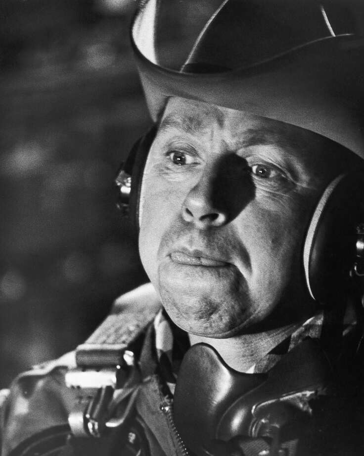 Headshot of Slim Pickens (1919-1983), US actor, wearing a cowboy hat in a publicity still issued for the film, 'Dr Strangelove or: How I Learned to Stop Worrying and Love the Bomb', 1964. The black comedy, directed by Stanley Kubrick (1928-1999), starred Pickens as 'Major T J Kong'. Photo: Getty Images