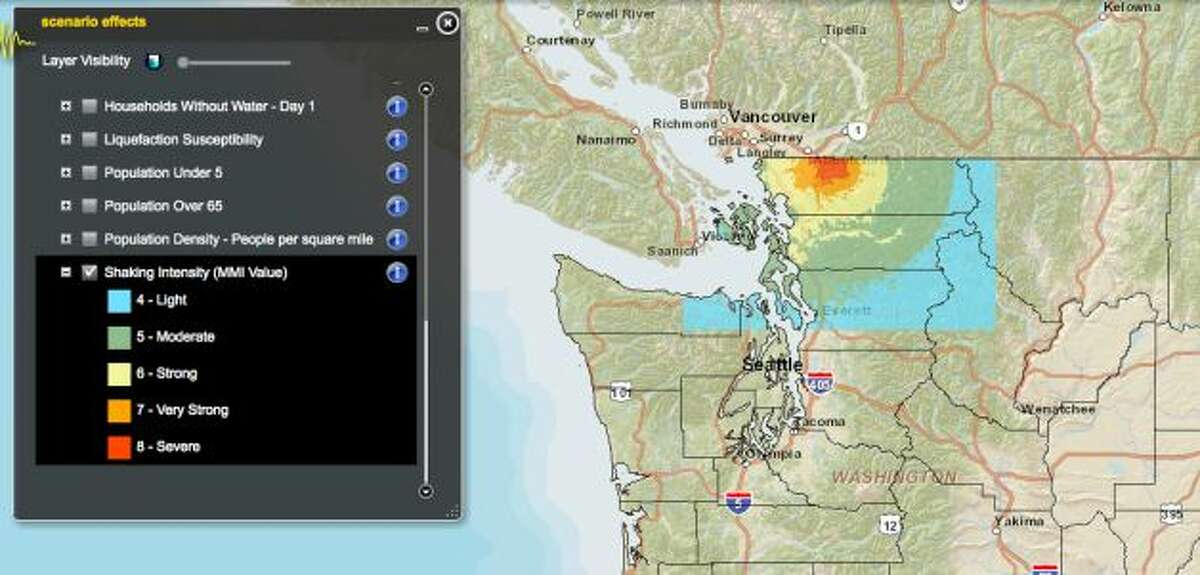 Boulder Creek fault in 6.8 magnitude quake. Photo: Washington State Earthquake Hazards Scenario Catalog You can read more about these scenarios in this story: Just how devastating will earthquakes be in Washington?