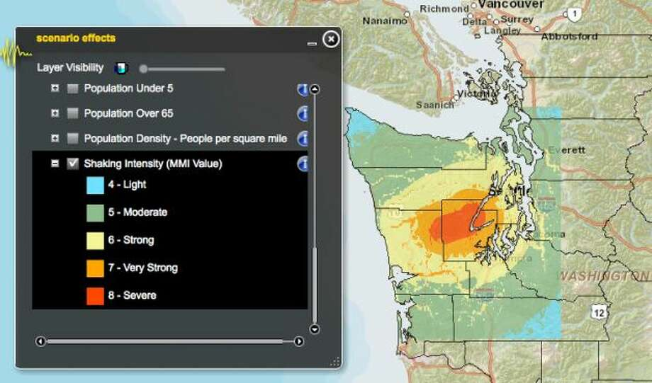 Canyon River fault in 7.4 magnitude quake. Photo: Washington State Earthquake Hazards Scenario Catalog