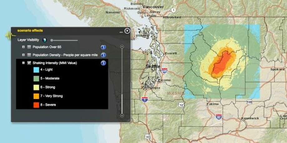 Chelan fault in a 7.2 magnitude quake. Photo: Washington State Earthquake Hazards Scenario Catalog
