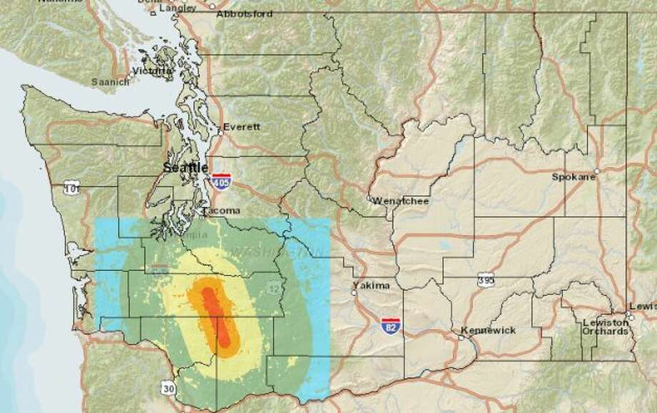 Mount Saint Helens fault at 7.0 magnitude quake. Photo: Washington State Earthquake Hazards Scenario Catalog