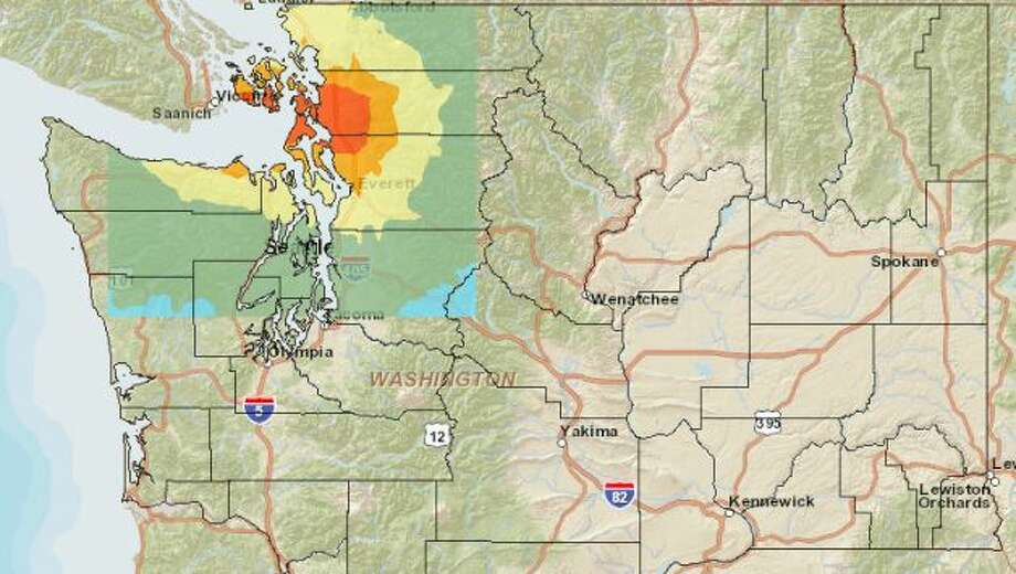 Devil's Mountain fault (west) at 7.4 magnitude quake. Photo: Washington State Earthquake Hazards Scenario Catalog