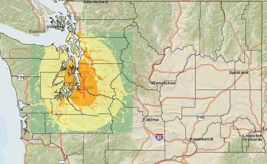 SeaTac fault 7.2 quake. Photo: Washington State Earthquake Hazards Scenario Catalog