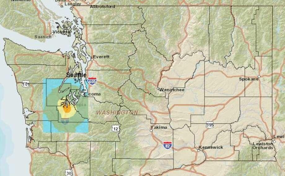 Olympia fault quake at 5.7 magnitude. Photo: Washington State Earthquake Hazards Scenario Catalog