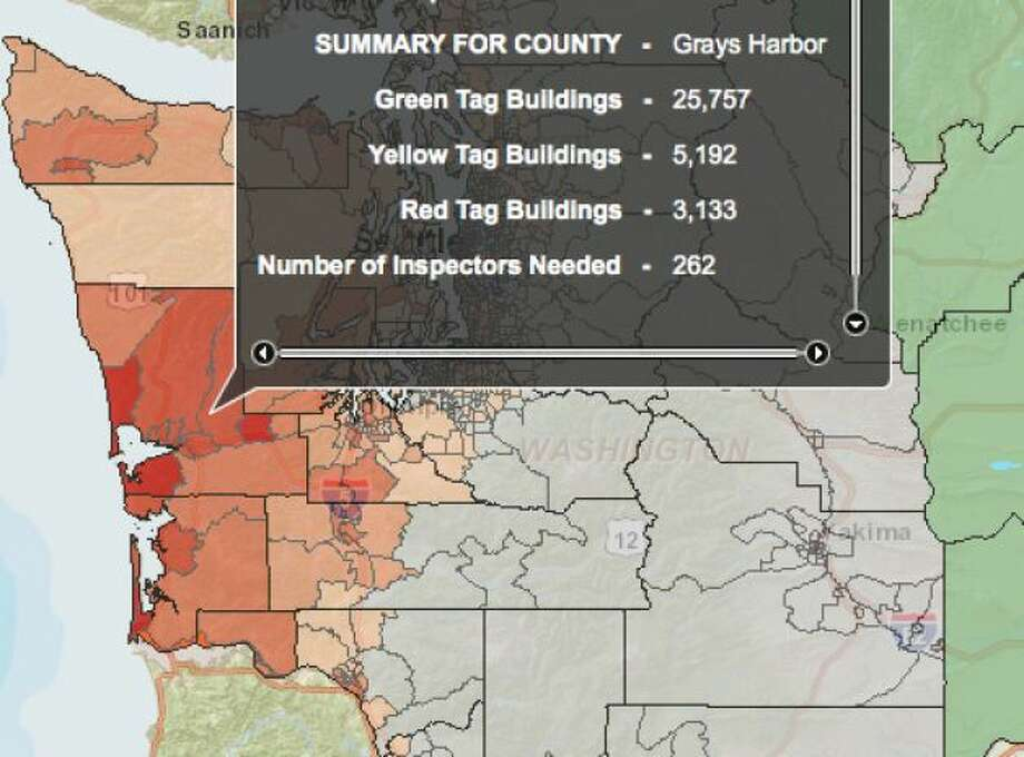 THE BIG ONE: Cascadia subduction zone in a 9.0 magnitude quake - buildings damaged in Grays Harbor. Photo: Washington State Earthquake Hazards Scenario Catalog