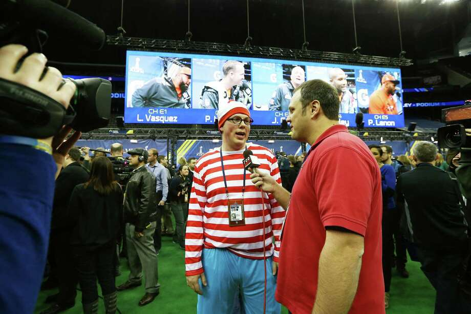 NEWARK, NJ - JANUARY 28:  A member of the media dressed as Waldo attends Super Bowl XLVIII Media Day at the Prudential Center on January 28, 2014 in Newark, New Jersey.  Super Bowl XLVIII will be played between the Seattle Seahawks and the Denver Broncos on February 2. Photo: Elsa, Getty Images / 2014 Getty Images